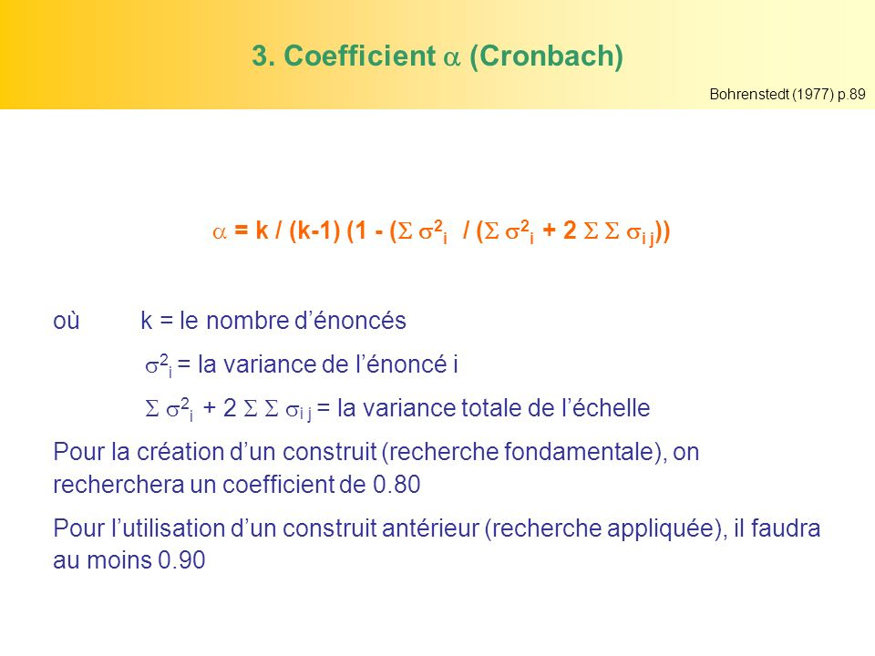 3. Coefficient  (Cronbach)