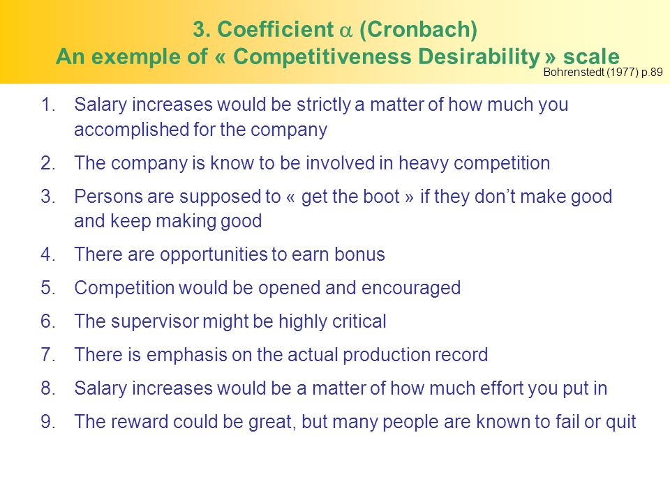 3. Coefficient  (Cronbach) An exemple of « Competitiveness Desirability » scale