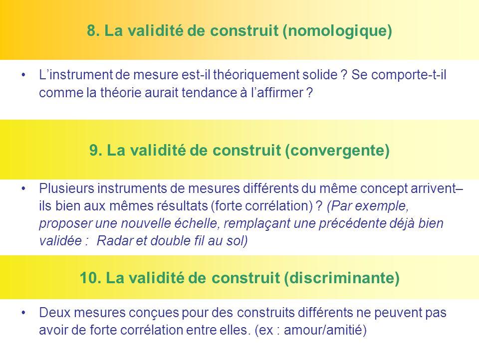 8. La validité de construit (nomologique)
