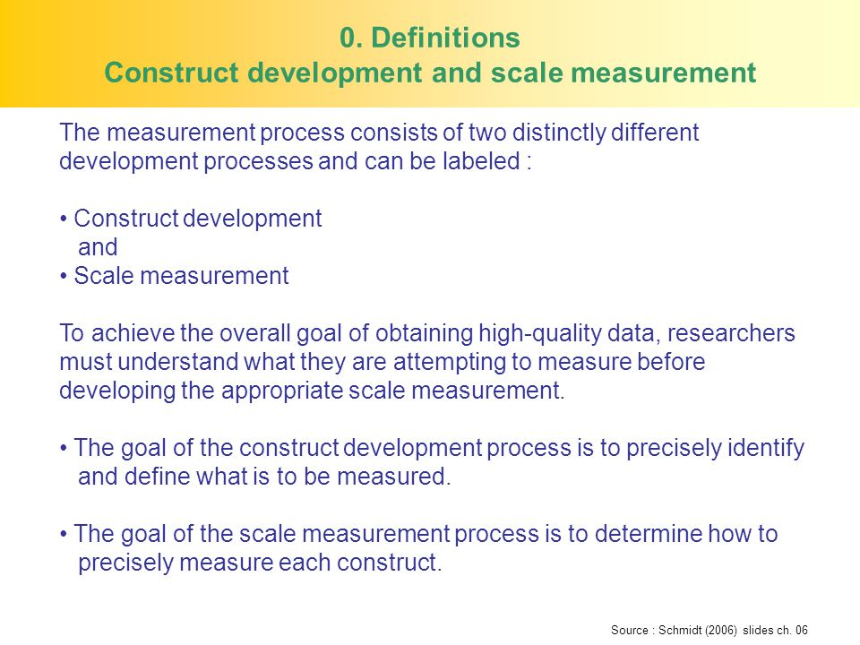 0. Definitions Construct development and scale measurement