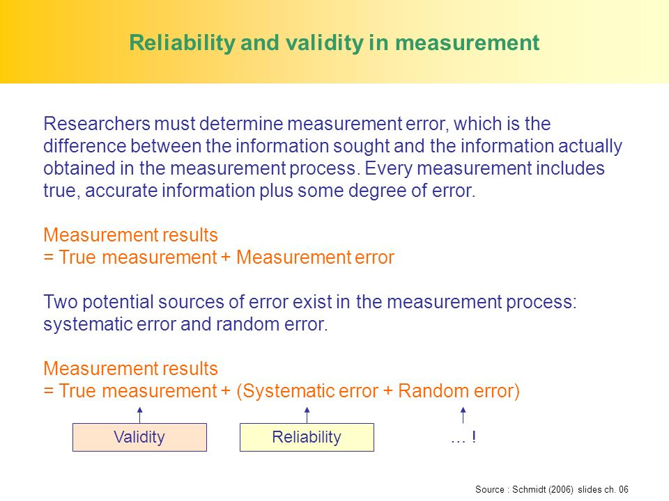 Reliability and validity in measurement