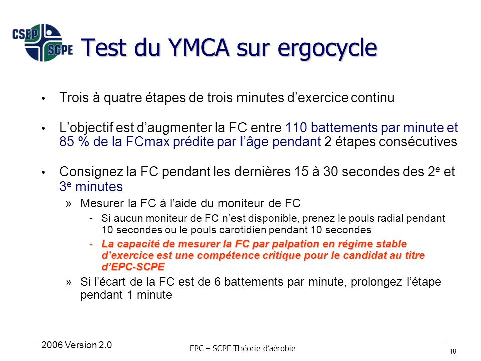Test du YMCA sur ergocycle