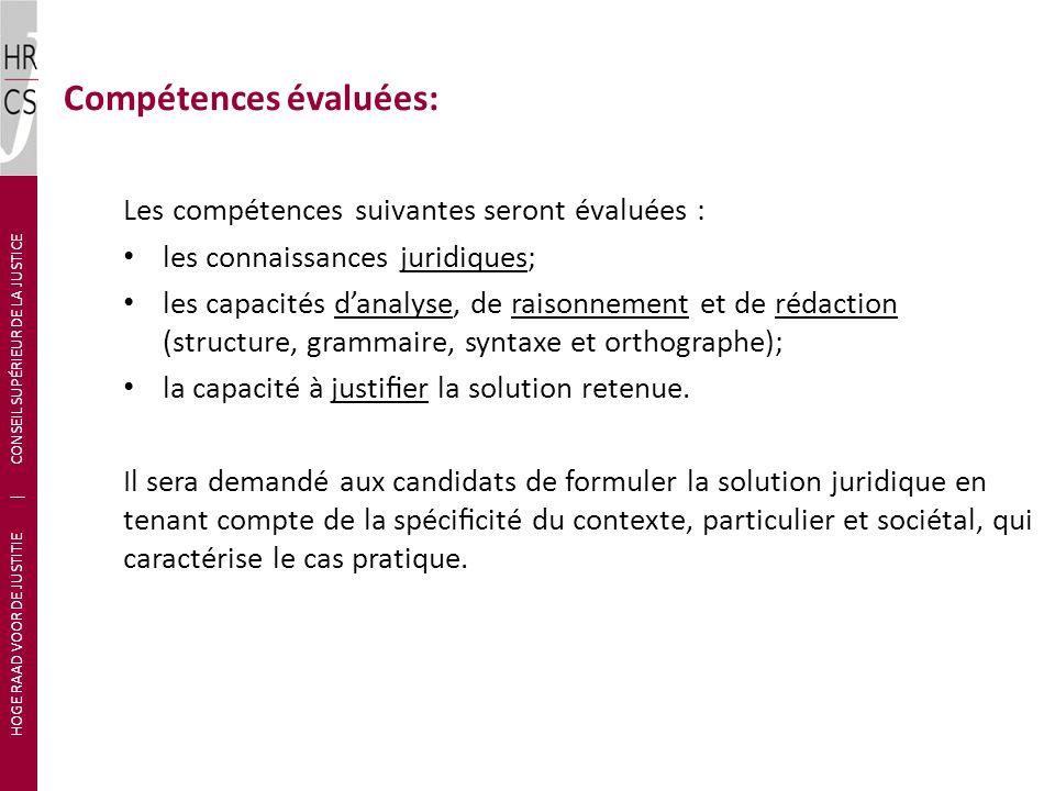 Compétences évaluées: