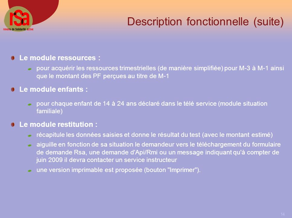 Description fonctionnelle (suite)