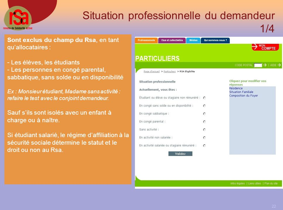 Situation professionnelle du demandeur 1/4