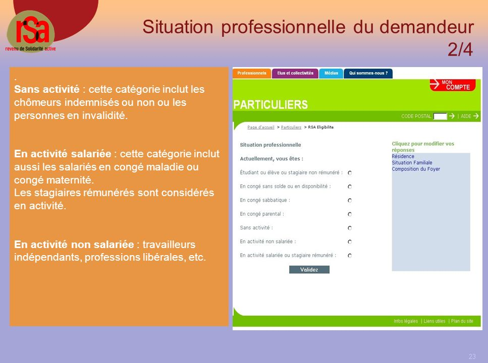 Situation professionnelle du demandeur 2/4
