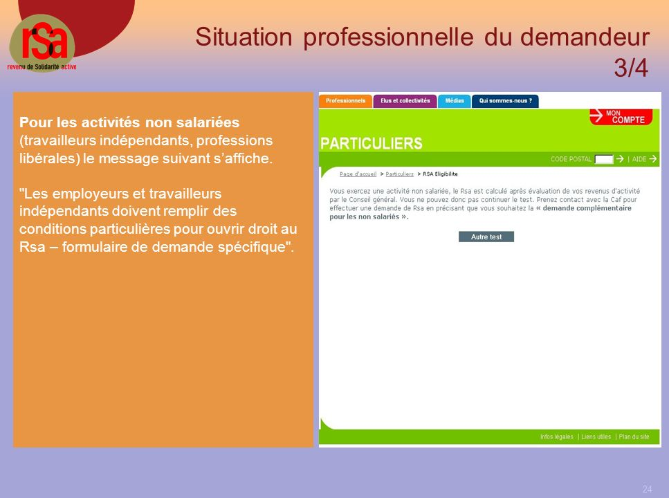 Situation professionnelle du demandeur 3/4