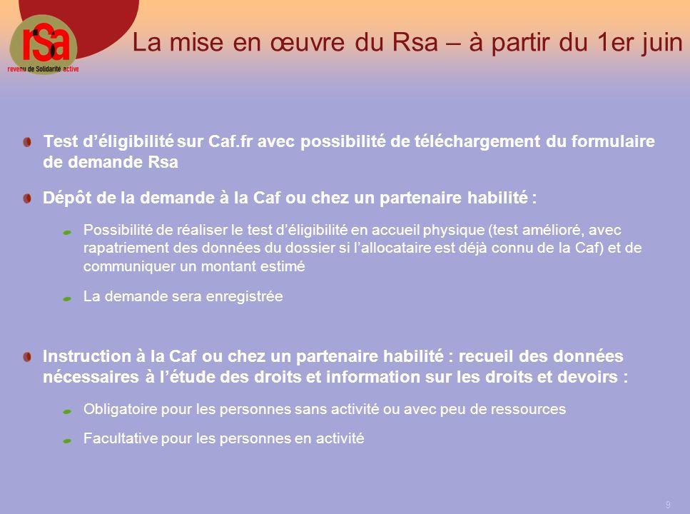 La mise en œuvre du Rsa – à partir du 1er juin