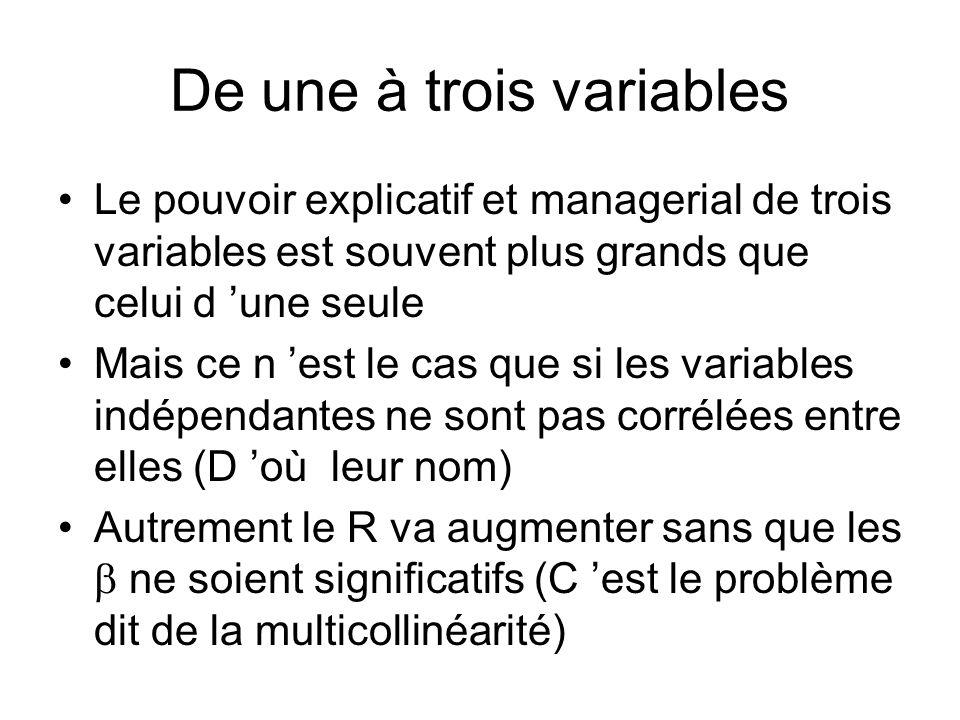 De une à trois variables