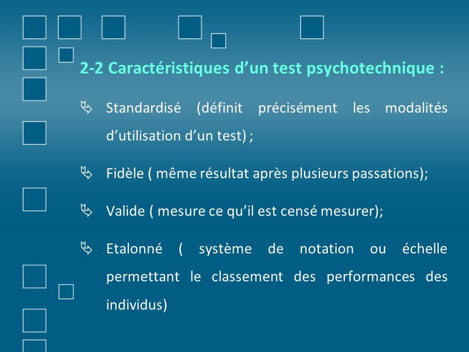 2-2 Caractéristiques d'un test psychotechnique :