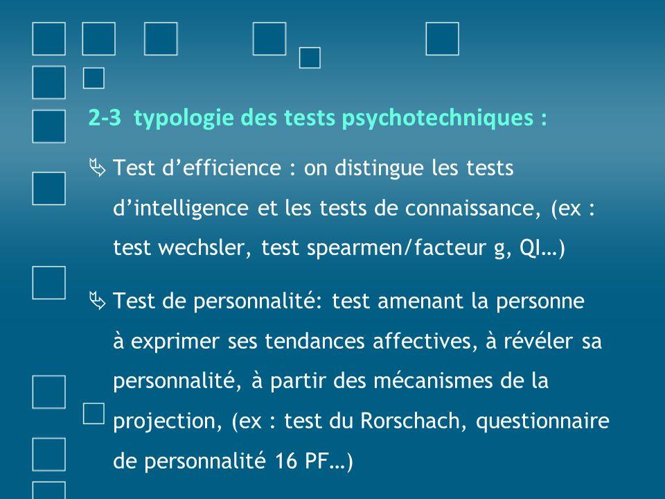 2-3 typologie des tests psychotechniques :