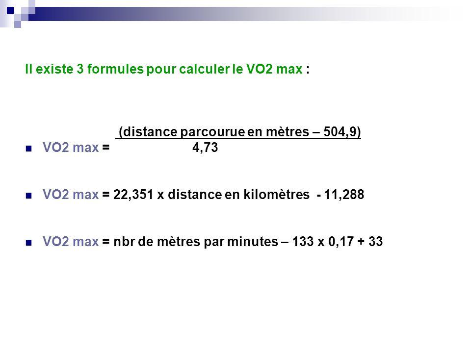Il existe 3 formules pour calculer le VO2 max :