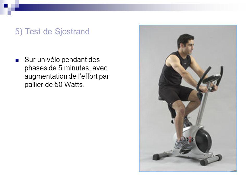 5) Test de SjostrandSur un vélo pendant des phases de 5 minutes, avec augmentation de l'effort par pallier de 50 Watts.