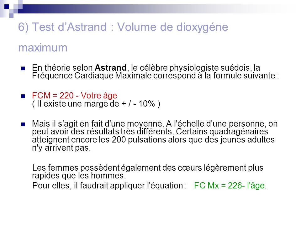 6) Test d'Astrand : Volume de dioxygéne maximum
