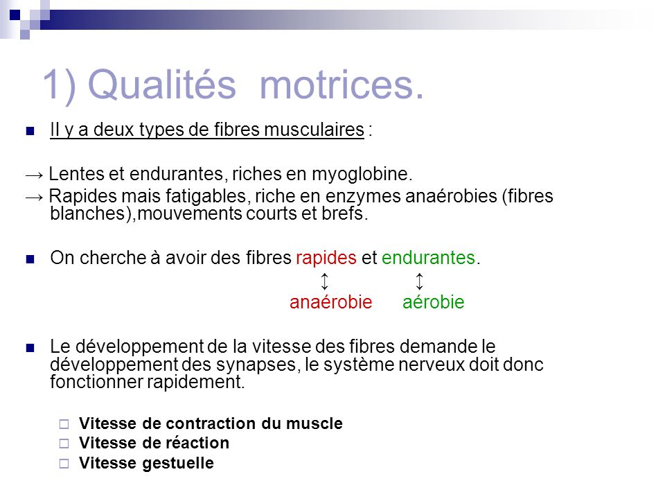 1) Qualités motrices. Il y a deux types de fibres musculaires :