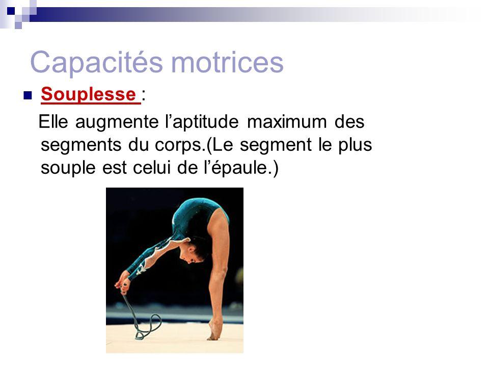 Capacités motrices Souplesse :