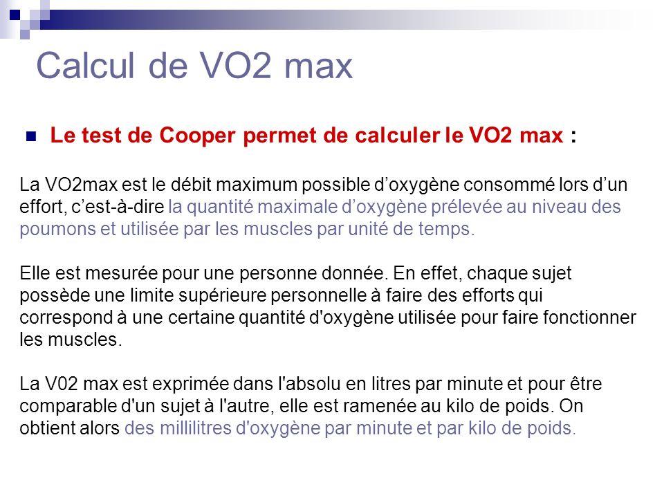 Calcul de VO2 max Le test de Cooper permet de calculer le VO2 max :