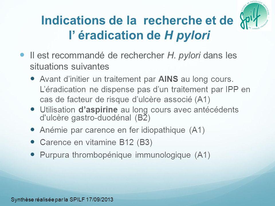 Indications de la recherche et de l' éradication de H pylori