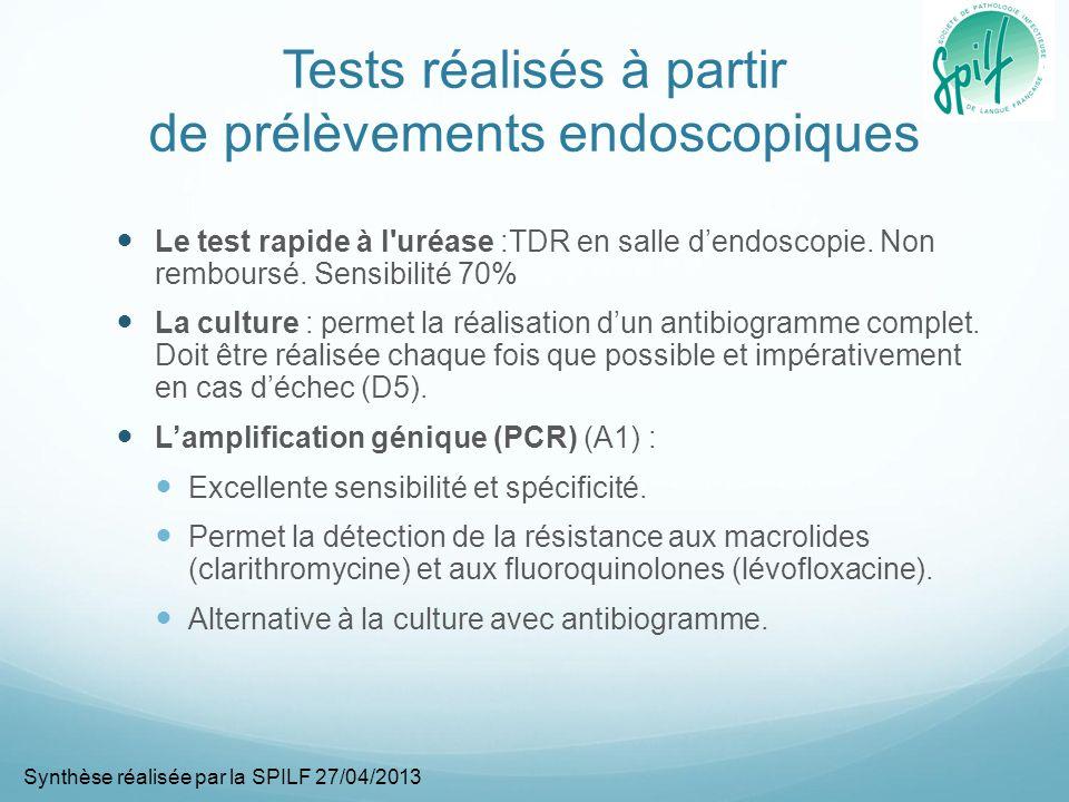 Tests réalisés à partir de prélèvements endoscopiques