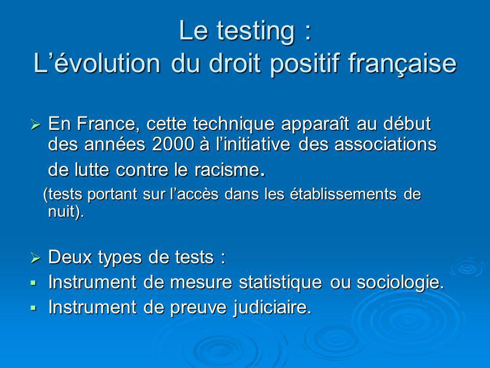Le testing : L'évolution du droit positif française