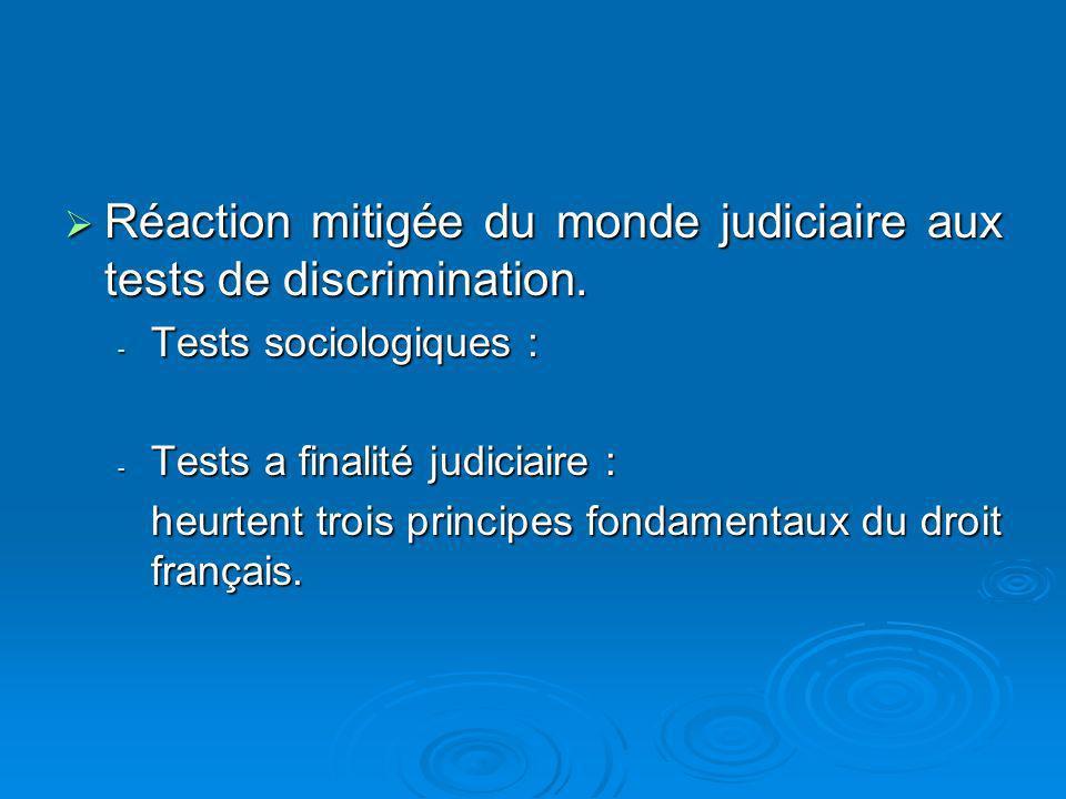 Réaction mitigée du monde judiciaire aux tests de discrimination.