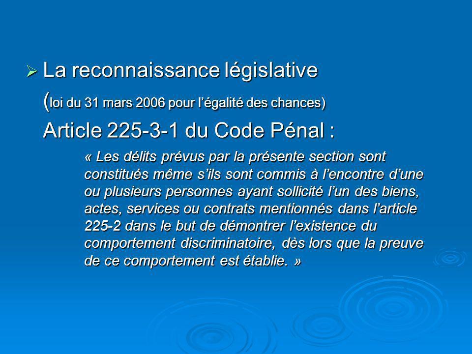 La reconnaissance législative