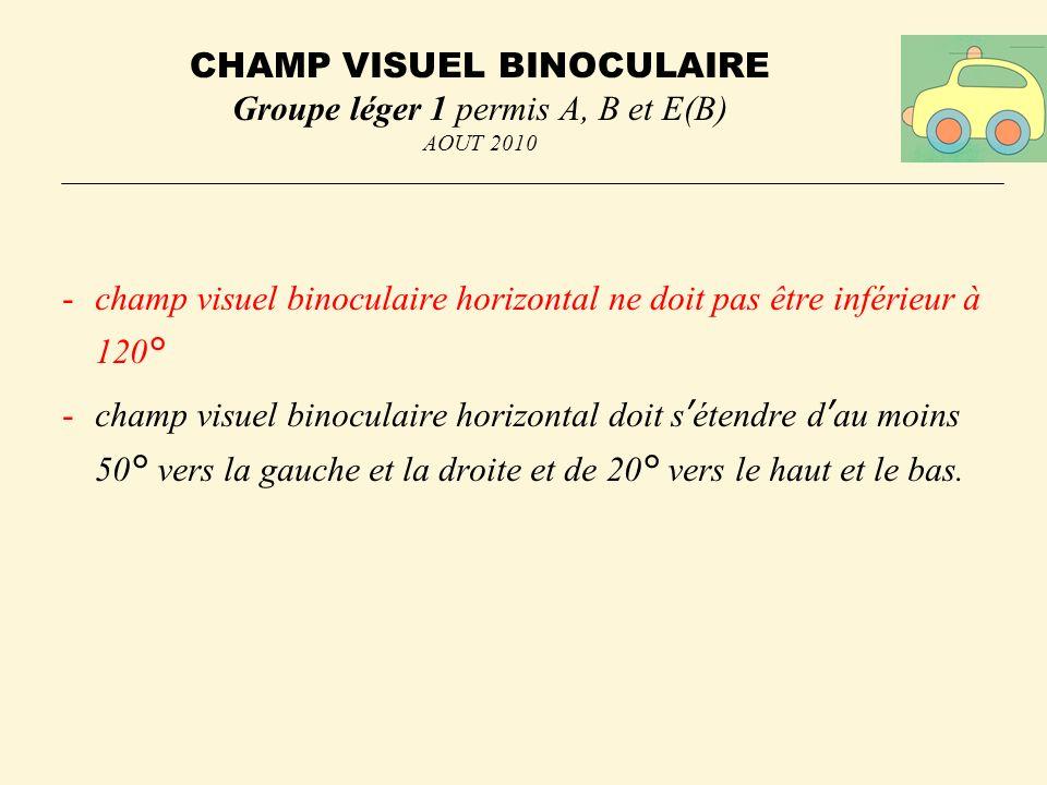 CHAMP VISUEL BINOCULAIRE Groupe léger 1 permis A, B et E(B) AOUT 2010
