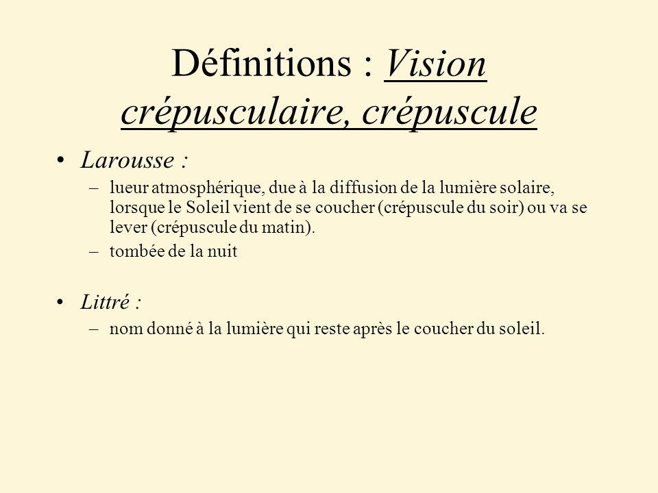 Définitions : Vision crépusculaire, crépuscule