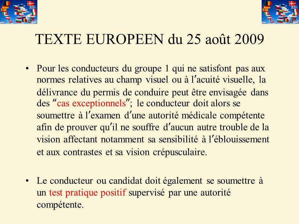 TEXTE EUROPEEN du 25 août 2009