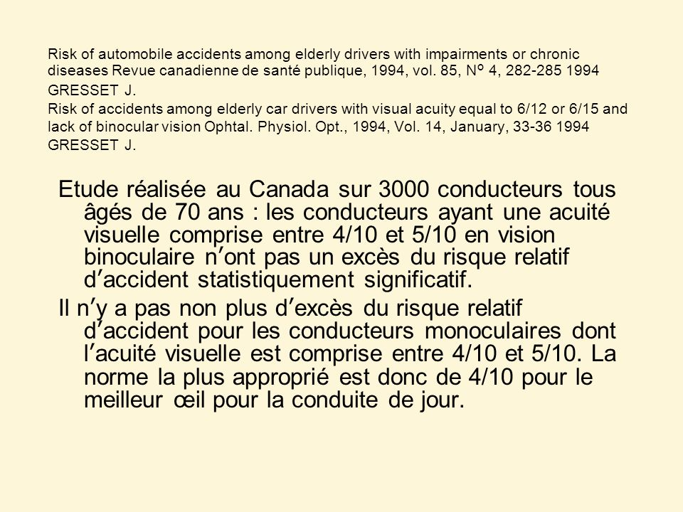 Risk of automobile accidents among elderly drivers with impairments or chronic diseases Revue canadienne de santé publique, 1994, vol. 85, N° 4, 282-285 1994 GRESSET J. Risk of accidents among elderly car drivers with visual acuity equal to 6/12 or 6/15 and lack of binocular vision Ophtal. Physiol. Opt., 1994, Vol. 14, January, 33-36 1994 GRESSET J.