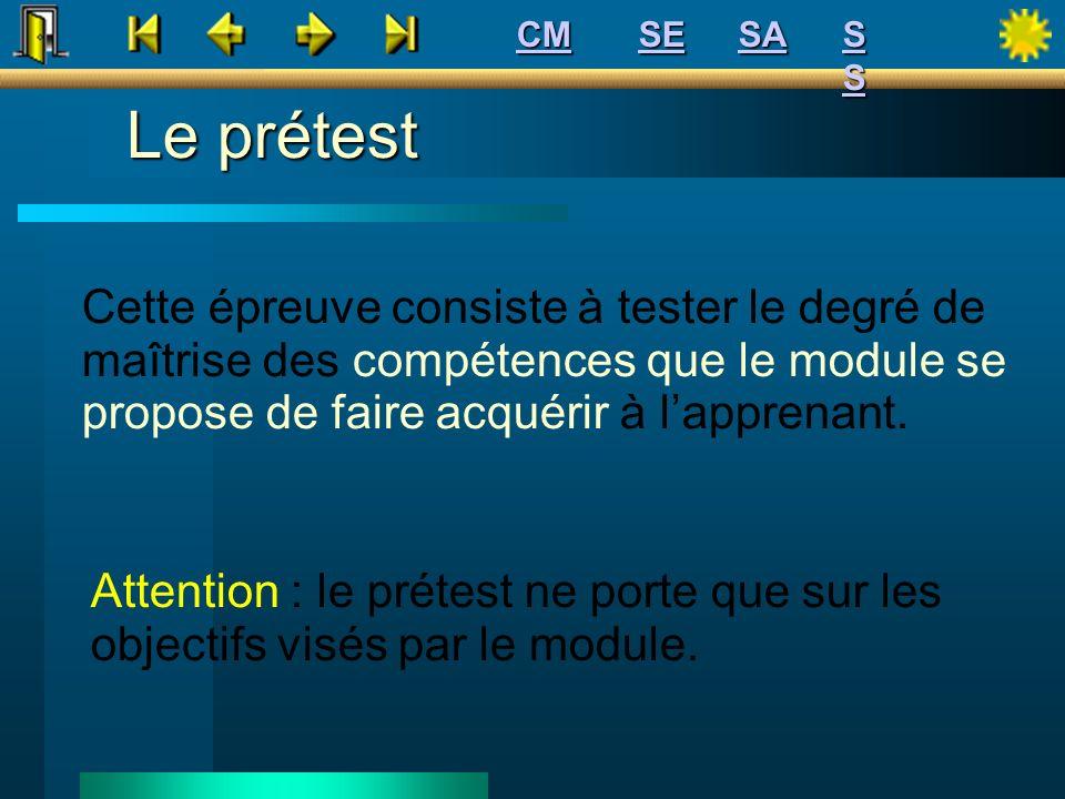 CM SE. SA. S S. Le prétest.