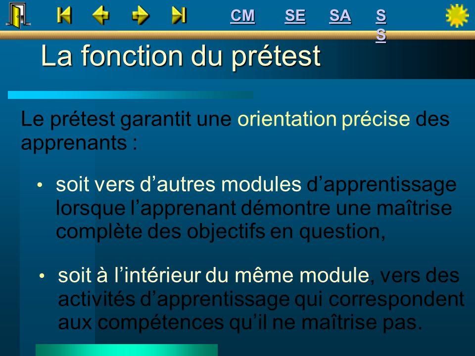CM SE. SA. S S. La fonction du prétest. Le prétest garantit une orientation précise des apprenants :