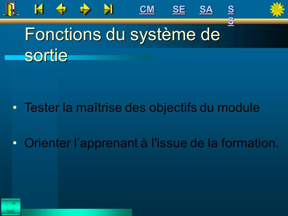 Fonctions du système de sortie