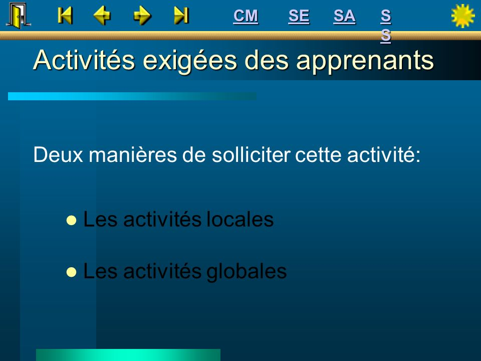 Activités exigées des apprenants