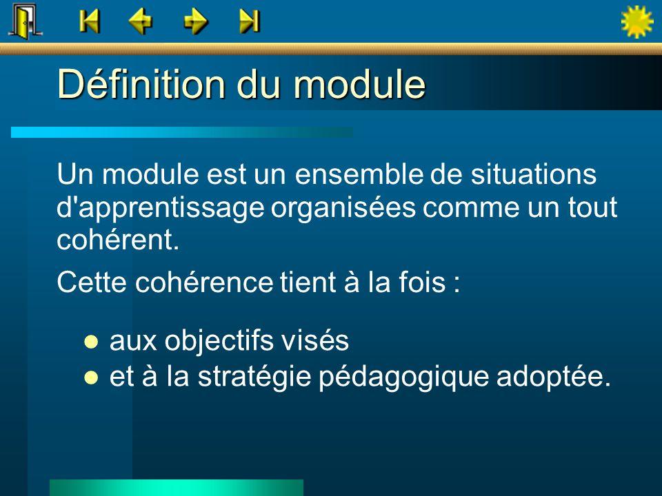Définition du module Un module est un ensemble de situations d apprentissage organisées comme un tout cohérent.