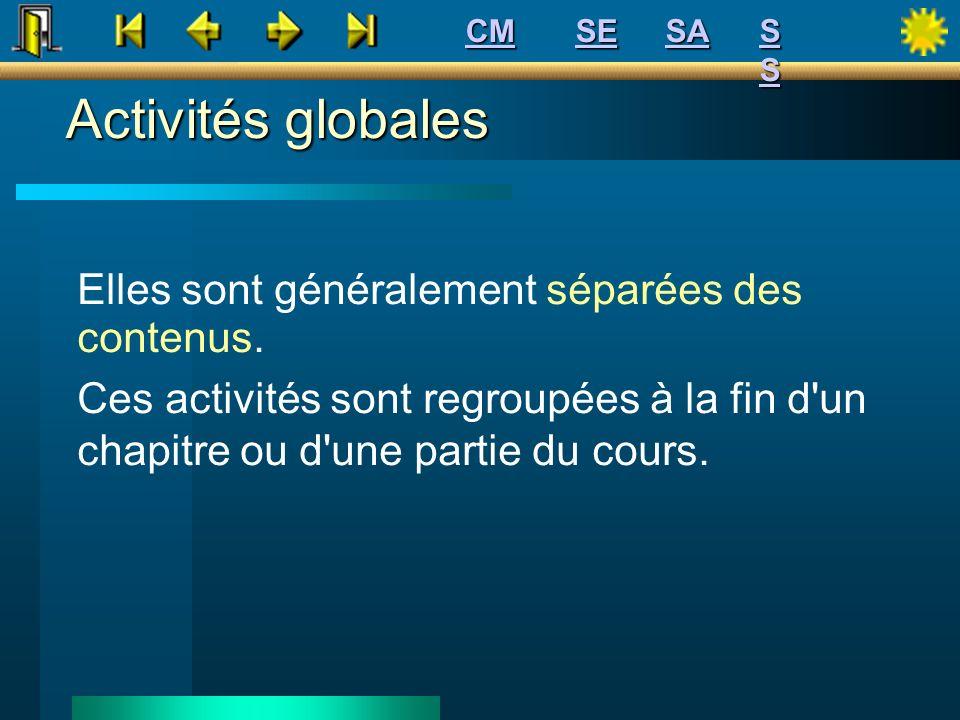 Activités globales Elles sont généralement séparées des contenus.