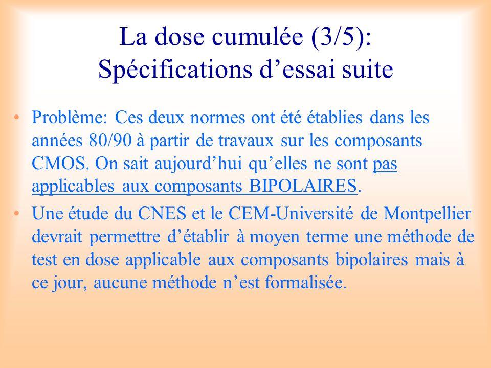 La dose cumulée (3/5): Spécifications d'essai suite