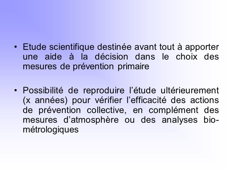 Etude scientifique destinée avant tout à apporter une aide à la décision dans le choix des mesures de prévention primaire
