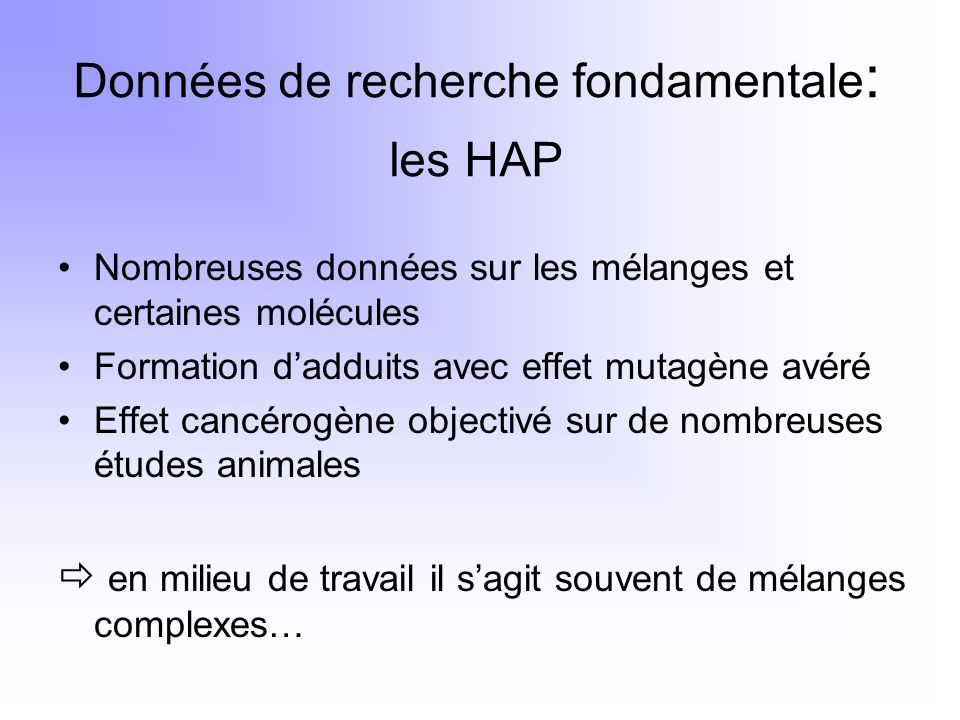 Données de recherche fondamentale: les HAP