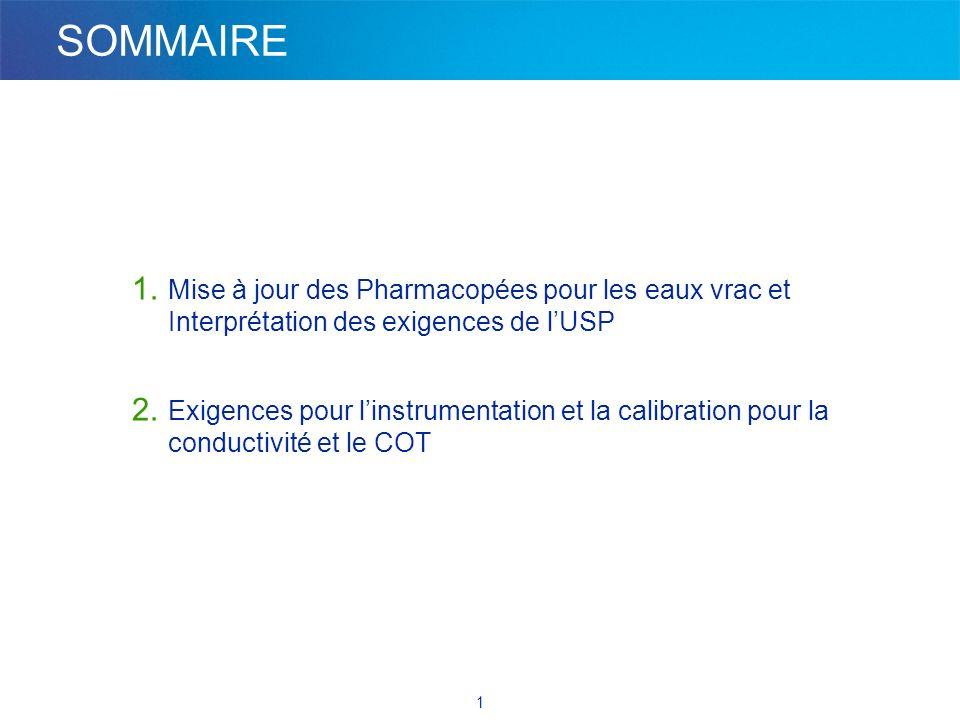 Partie 1. Mise à jour des Pharmacopées pour les eaux vrac et Interprétation des exigences de l'USP