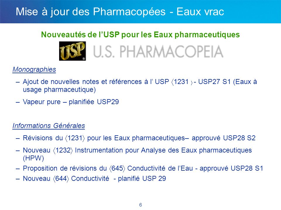 Monographie pour la Vapeur Pure USP 29