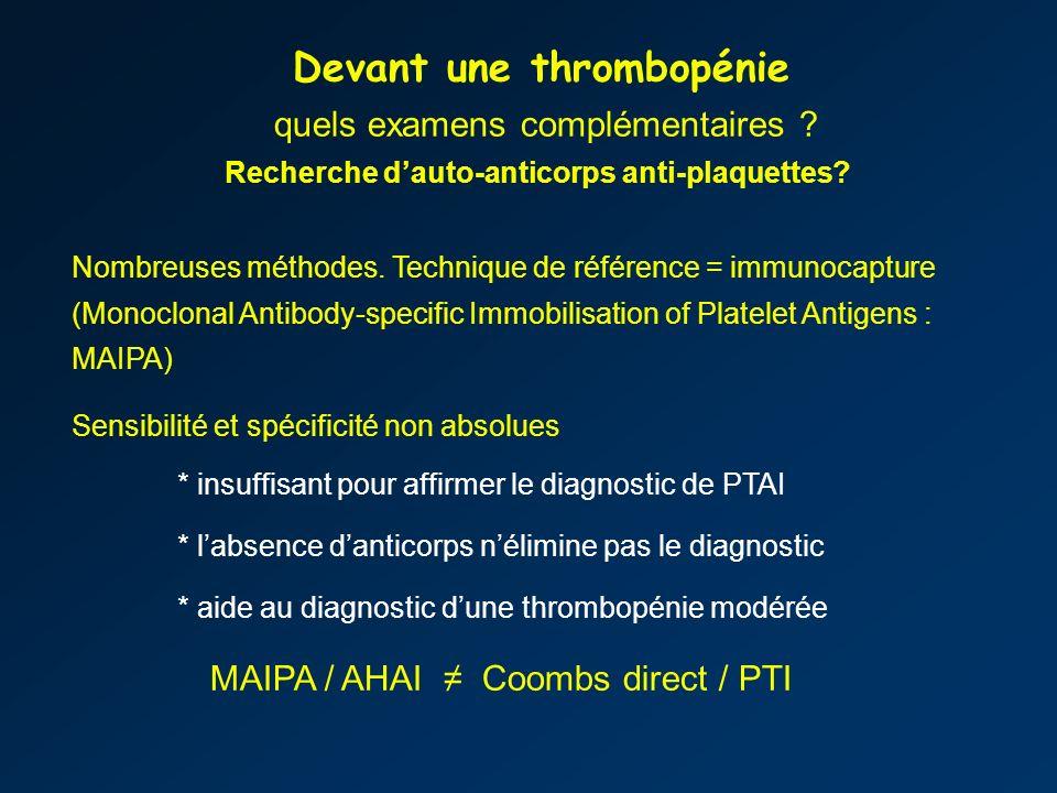 Recherche d'auto-anticorps anti-plaquettes