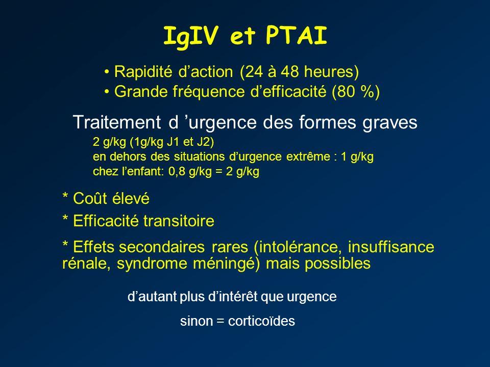 IgIV et PTAI Traitement d 'urgence des formes graves