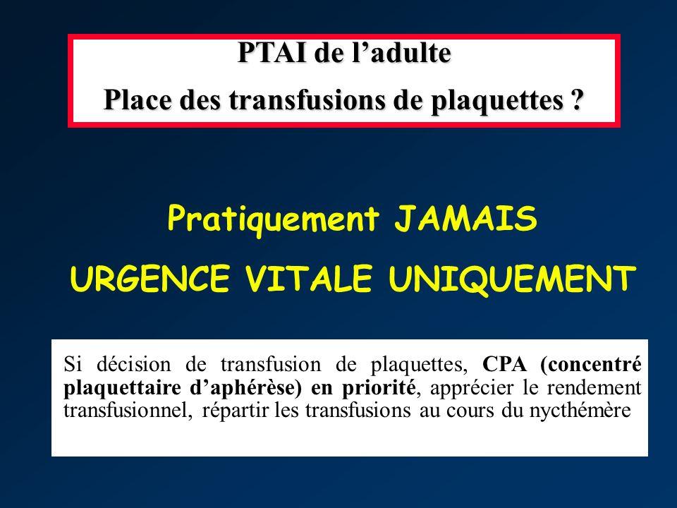 Place des transfusions de plaquettes