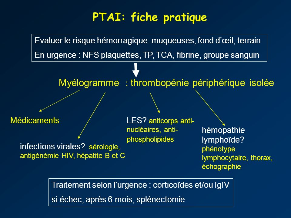 PTAI: fiche pratique Myélogramme : thrombopénie périphérique isolée