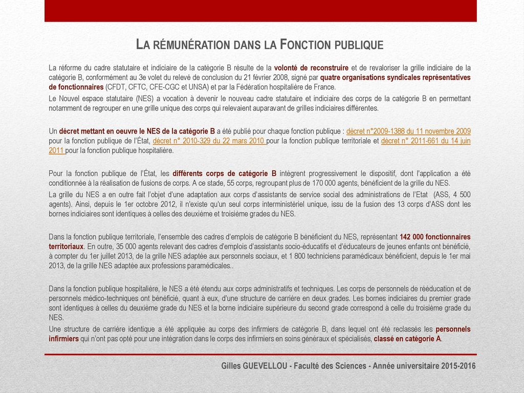 La r mun ration dans la fonction publique ppt t l charger - Grilles indiciaires fonction publique territoriale ...