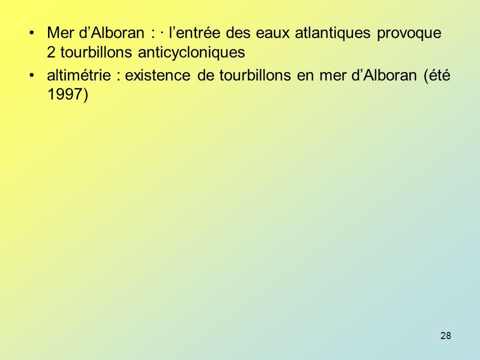 Mer d'Alboran : · l'entrée des eaux atlantiques provoque 2 tourbillons anticycloniques