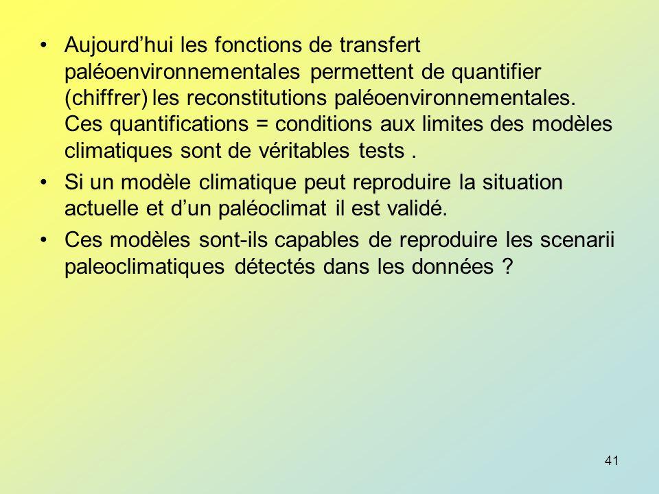 Aujourd'hui les fonctions de transfert paléoenvironnementales permettent de quantifier (chiffrer) les reconstitutions paléoenvironnementales. Ces quantifications = conditions aux limites des modèles climatiques sont de véritables tests .