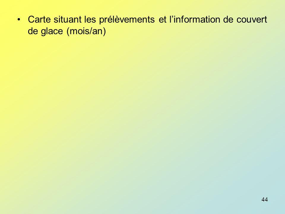 Carte situant les prélèvements et l'information de couvert de glace (mois/an)