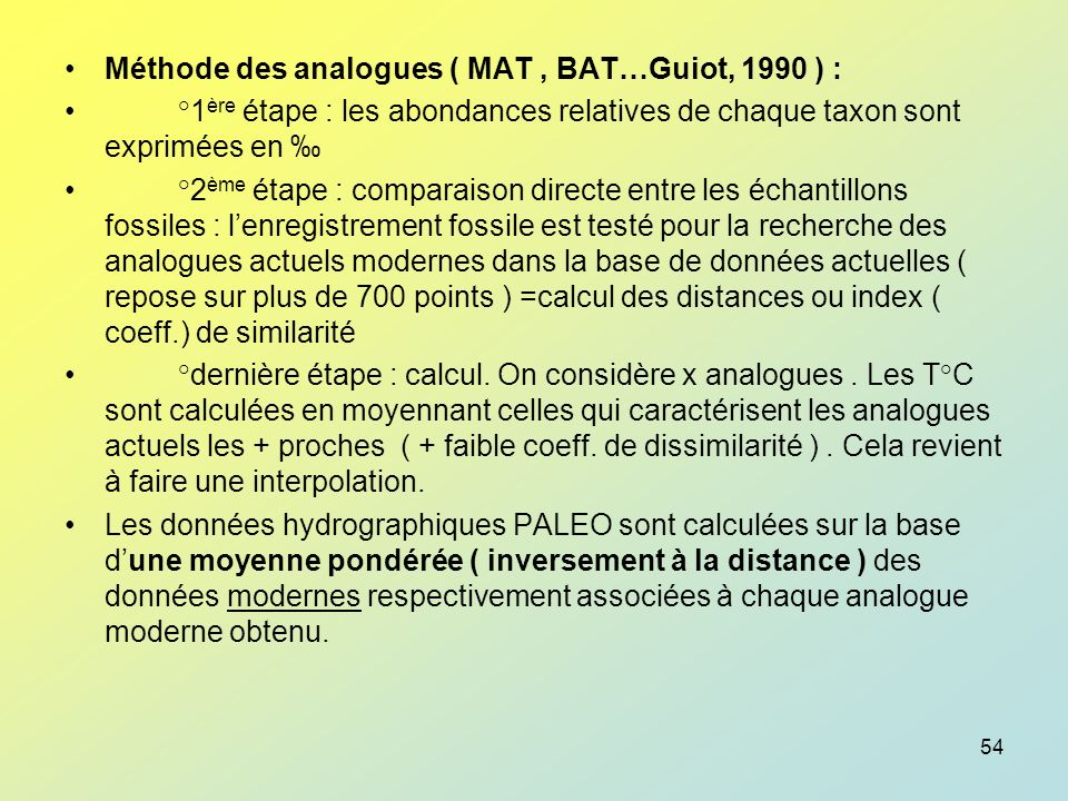 Méthode des analogues ( MAT , BAT…Guiot, 1990 ) :
